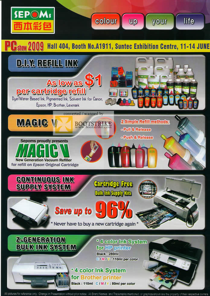 PC Show 2009 price list image brochure of Sepoms Refill Ink Magic V Continuous Ink Supply System
