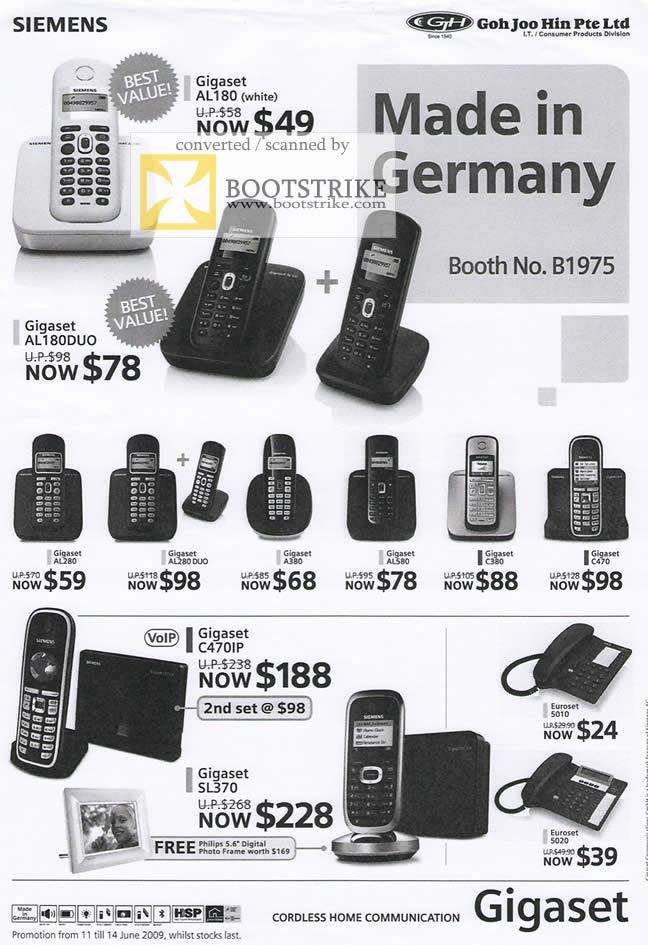 PC Show 2009 price list image brochure of Siemens Gigaset Phones
