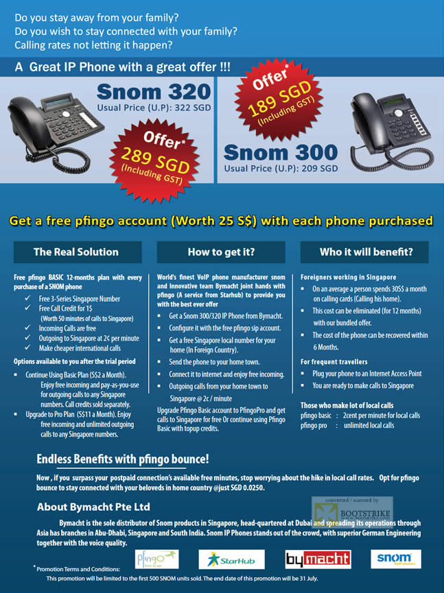 PC Show 2009 price list image brochure of Snom 300 320 VoIP Phone Pfingo Bymacht Starhub