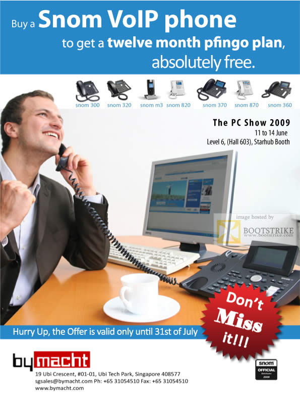 PC Show 2009 price list image brochure of Snom VoIP Phone Pfingo Bymacht