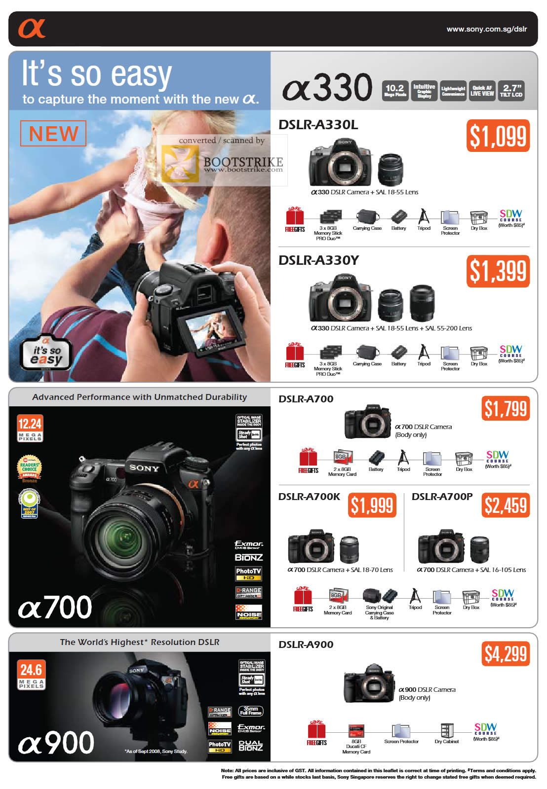 Camera Sony Dslr Camera Price List sony alpha dslr a330 a700 a900 digital camera pc show 2009 price list image brochure of camera