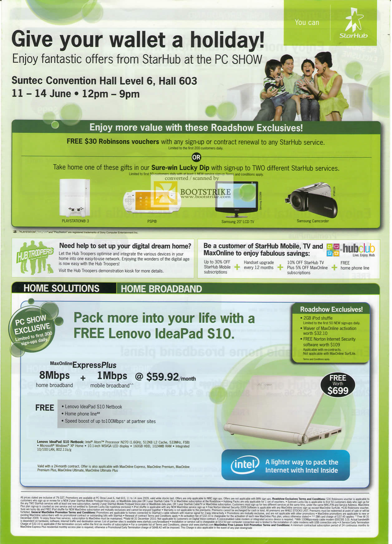 PC Show 2009 price list image brochure of Starhub Home Broadband Lenovo Ideapad S10