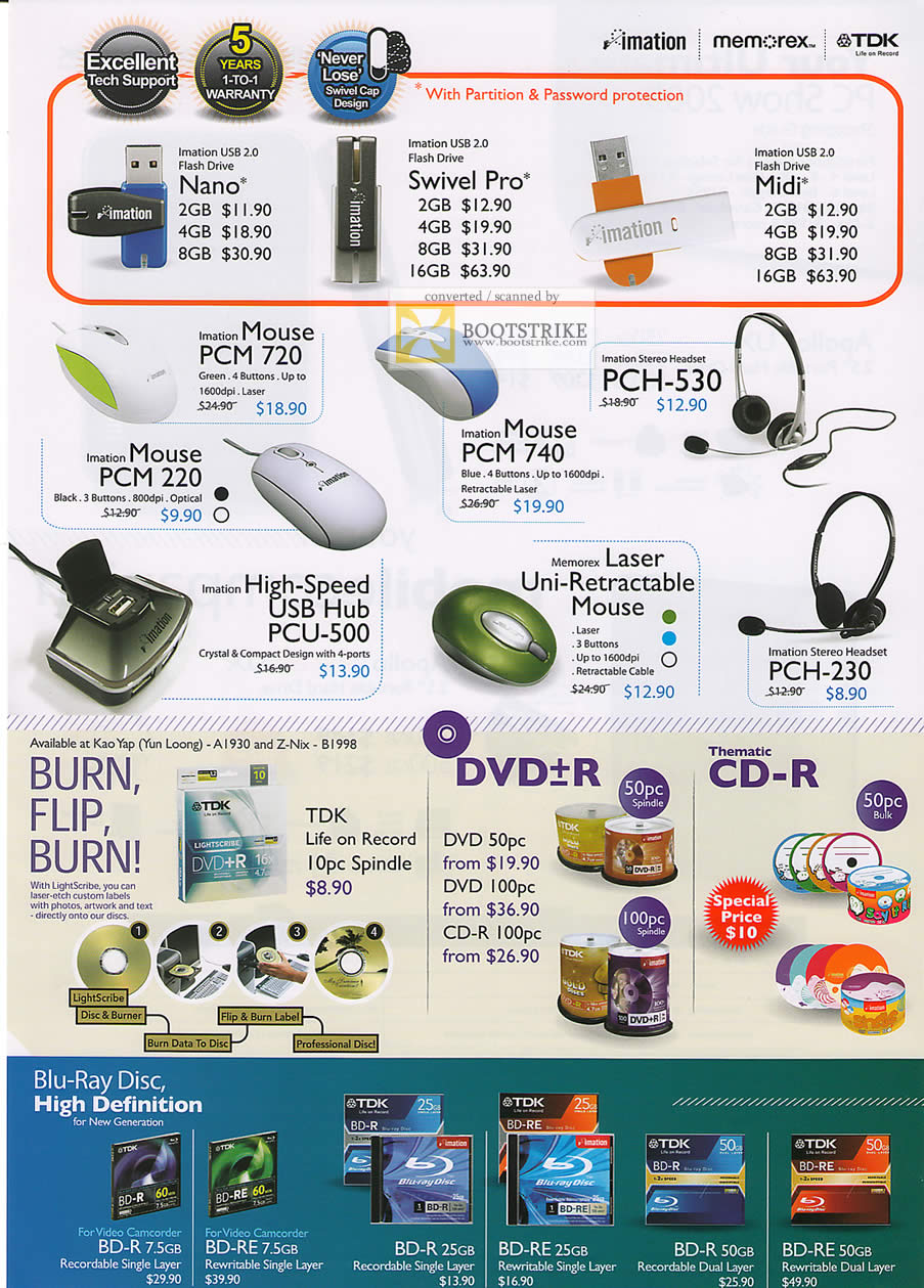 PC Show 2009 price list image brochure of TDK Imation Memorex Flash Drive Nano Swivel Pro Mouse Hub Headset DVD-R Discs