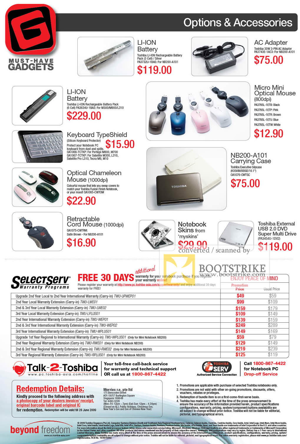 PC Show 2009 price list image brochure of Toshiba Options Accessories
