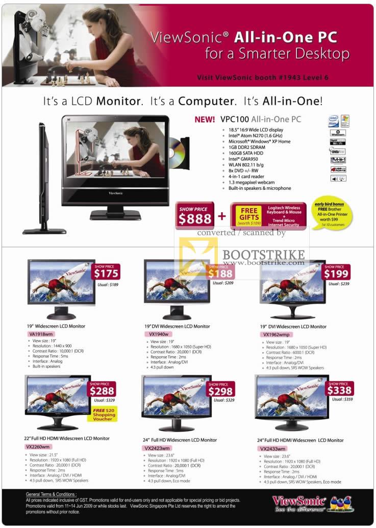 viewsonic lcd monitor vpc100 computer pc show 2009 price list