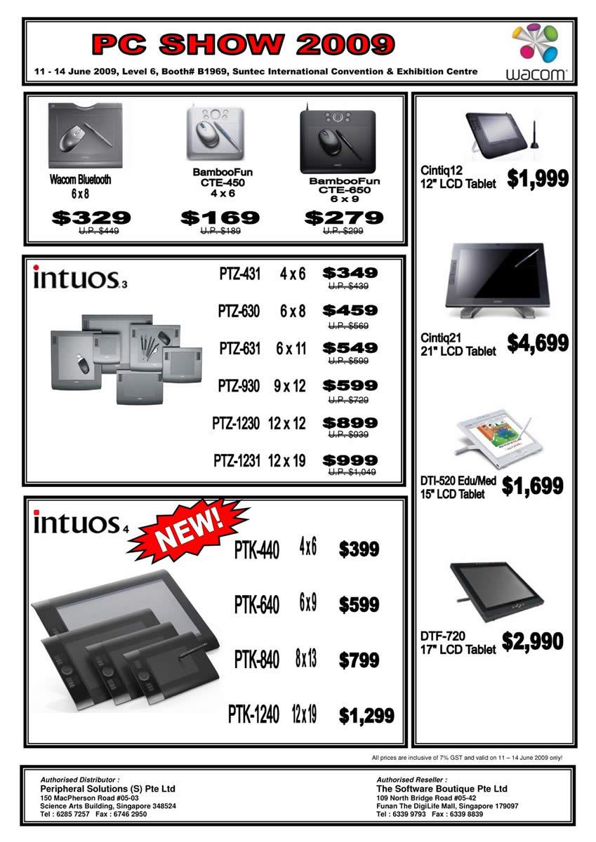 Wacom Tablet Intuos Bamboo Bluetooth Cintiq PC SHOW 2009