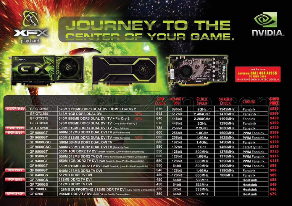 XFX NVidia Graphic Cards PC SHOW 2009 Price List Brochure ...