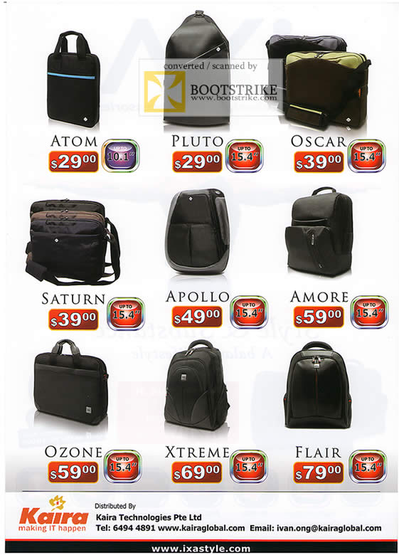 PC Show 2009 price list image brochure of IXA Notebook Bags Atom Pluto Oscar Saturn Apollo