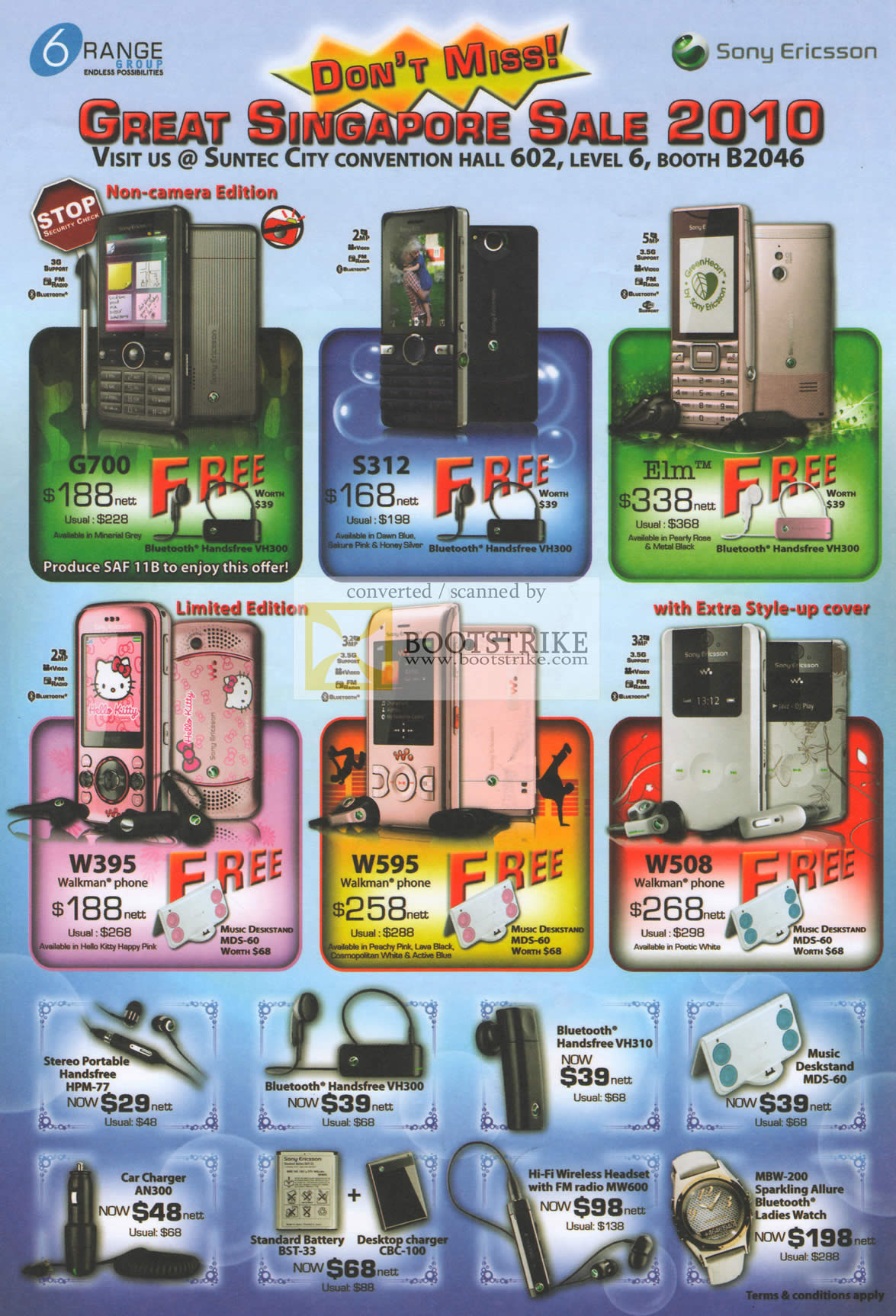 6range Sony Ericsson G700 S312 Elm W395 W595 W508 Bluetooth Handsfree Charger Pc Show 2010 Price List Brochure Flyer Image