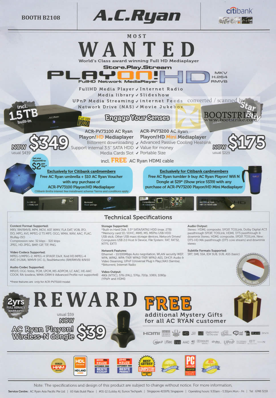 PC Show 2010 price list image brochure of AC Ryan PlayOn HD ACR PV73100 PV73200 Media Player Mini Wireless