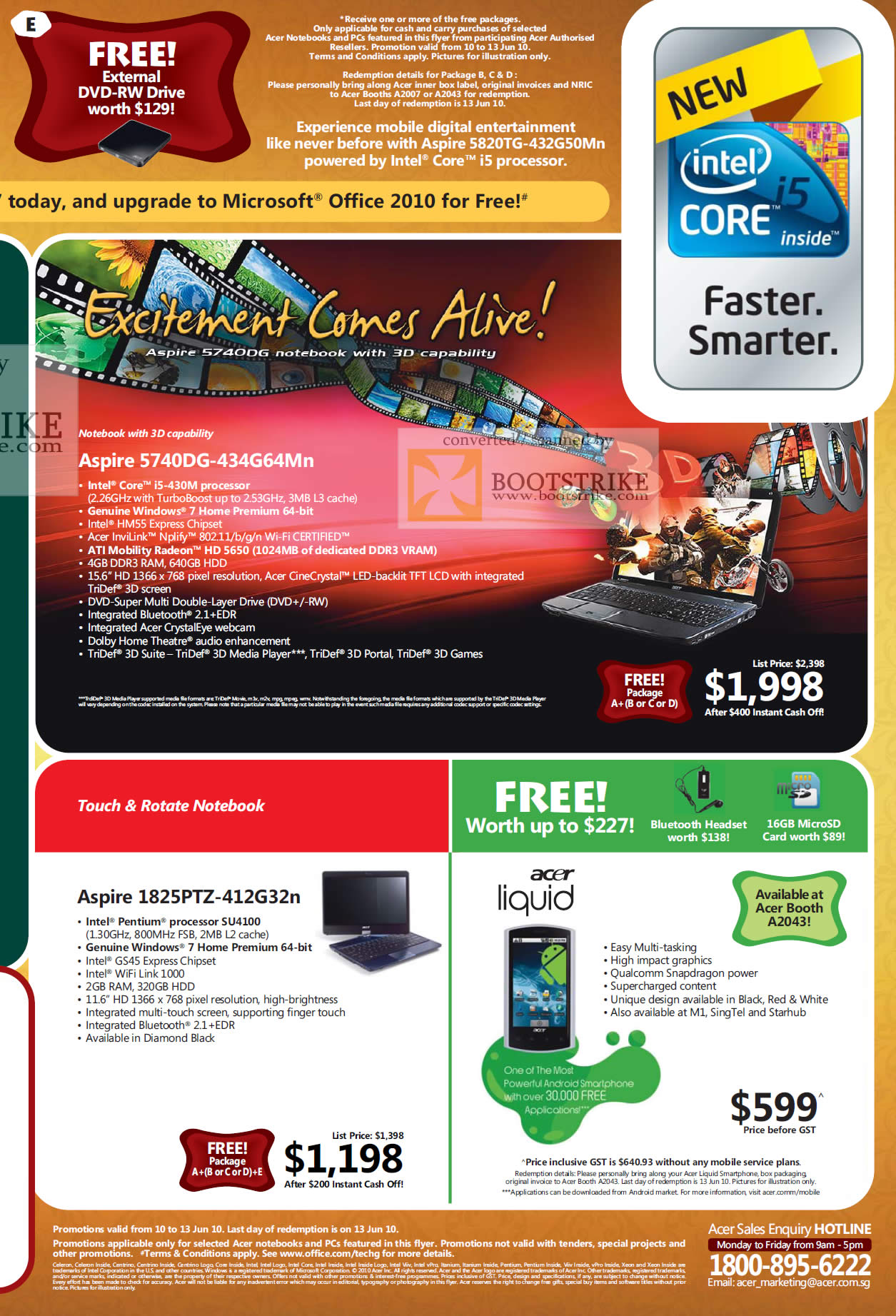 PC Show 2010 price list image brochure of Acer 3D Notebook Aspire 5749DG Touch Rotate 1825PTZ Liquid Android Smartphone