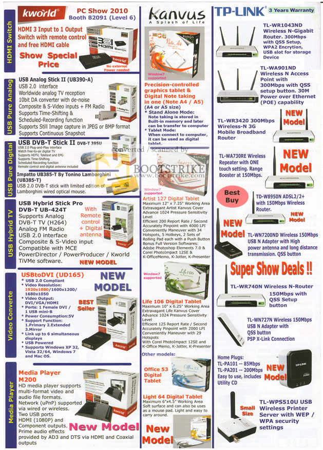 PC Show 2010 price list image brochure of Asia Radio KWorld Kanvus TP Link HDMI Switch Hybrid TV Video Converter Tablet Media Player