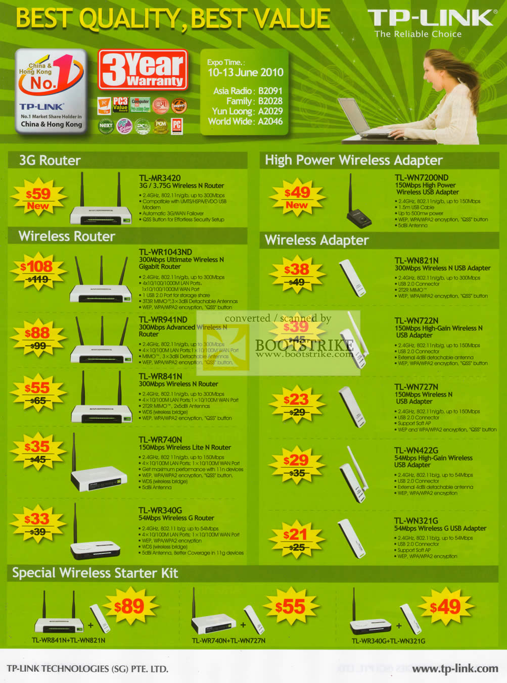 PC Show 2010 price list image brochure of Asia Radio TP Link 3G Router USB Adapter Wireless
