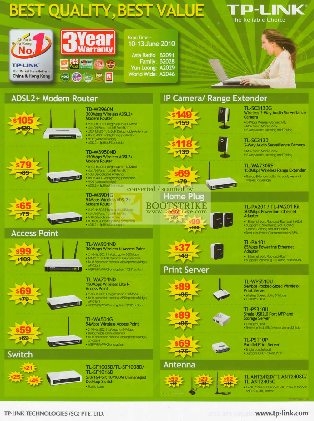 PC Show 2010 price list image brochure of Asia Radio TP Link ADSL Modem Router IPCam Range Extender HomePlug Switch Antenna Print Server