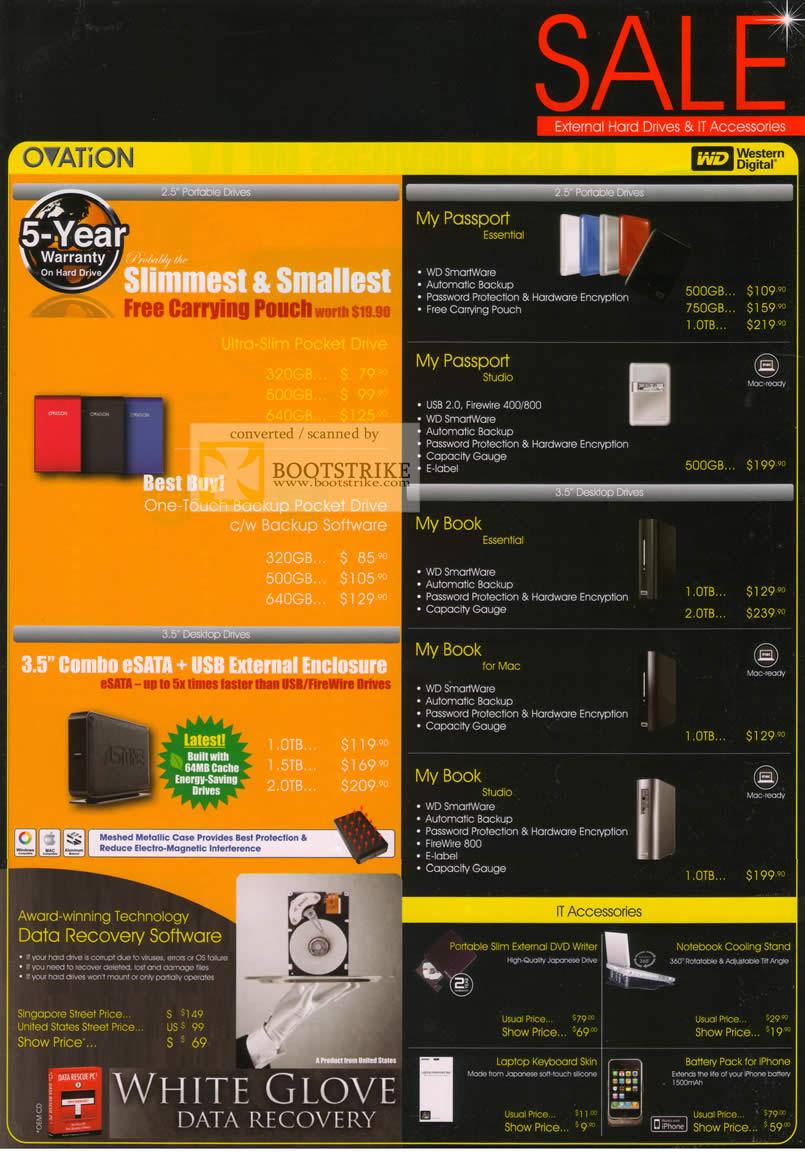PC Show 2010 price list image brochure of Astone Western Digital Ovation External Storage Drive My Passport Book