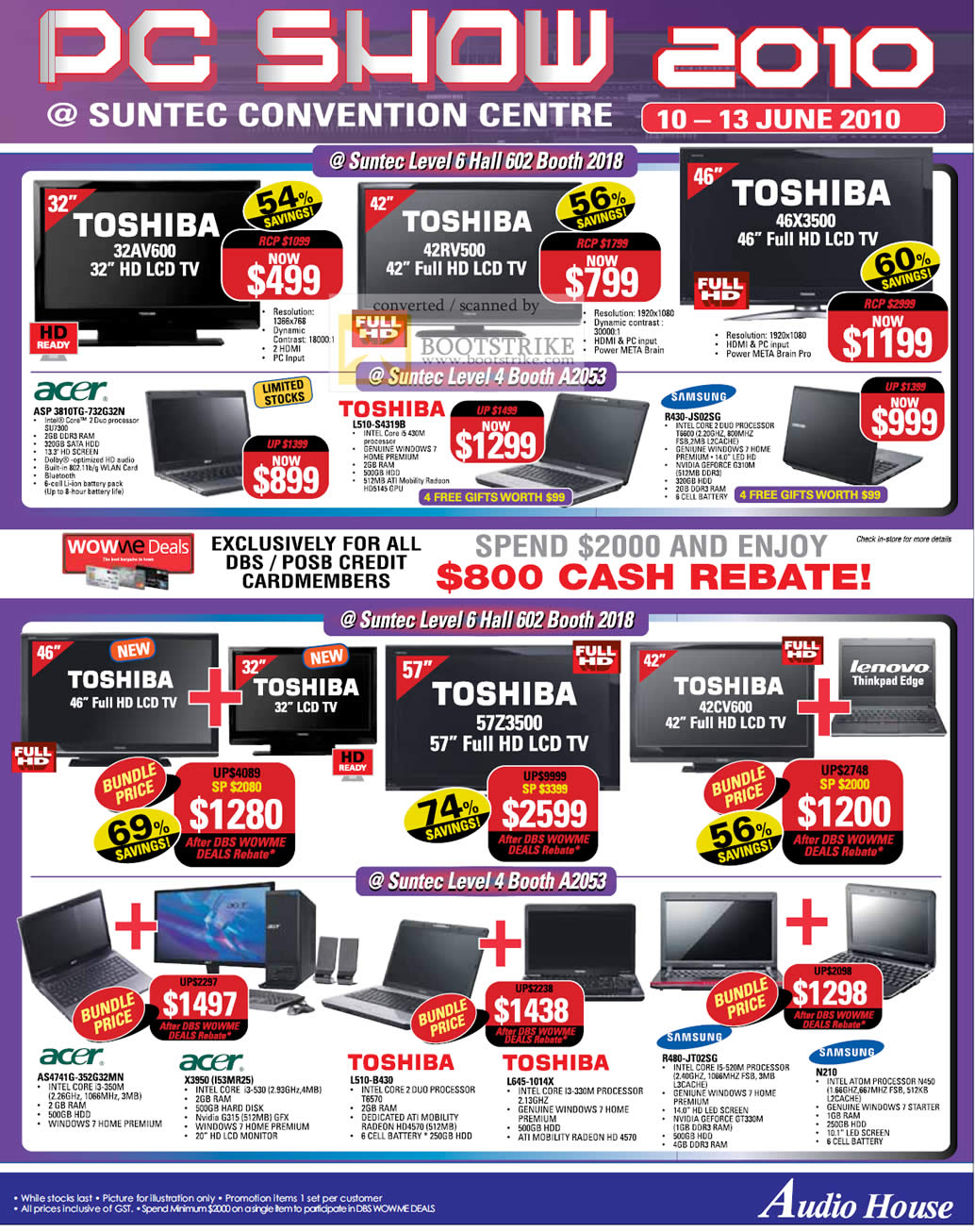 PC Show 2010 price list image brochure of Audio House Toshiba LCD TV Acer Notebooks Samsung N210 R480 L645 L510 X3950 AS4741G L510 3810TG R430