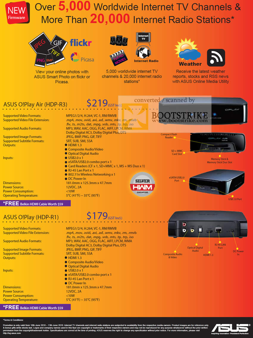 PC Show 2010 price list image brochure of Ban Leong ASUS O Play Air Media Player HDP R3 R1