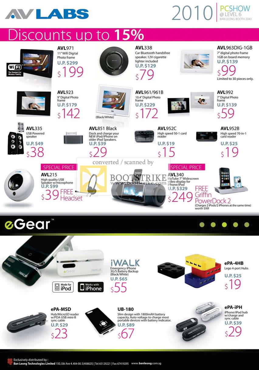 PC Show 2010 price list image brochure of Ban Leong AVLabs Digital Photo Frame Bluetooth Speaker Mic IWalk EPA 4HB MSD UB 180 IPH