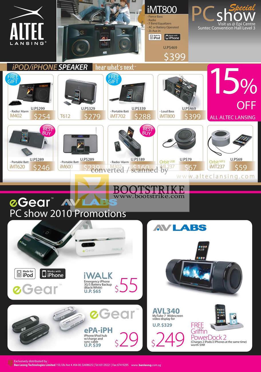 PC Show 2010 price list image brochure of Ban Leong Altec Lansing IPod IPhone Speaker EGear AVLabs MyTube 7 IWalk EPA IPH