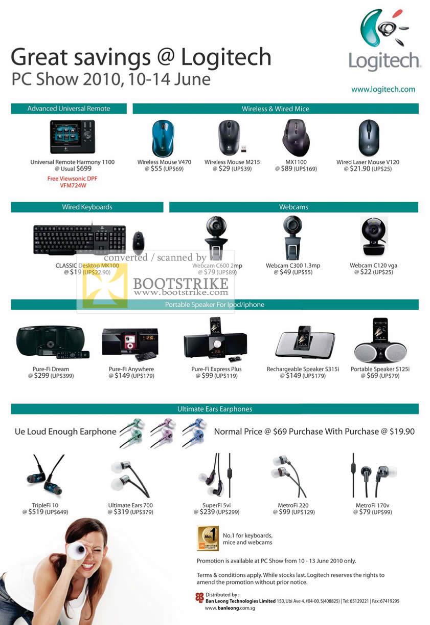 PC Show 2010 price list image brochure of Ban Leong Logitech Universal Remote Mouse Wireless Keyboard Webcam Speaker Ultimate Ears TripleFi SuperFi MetroFi