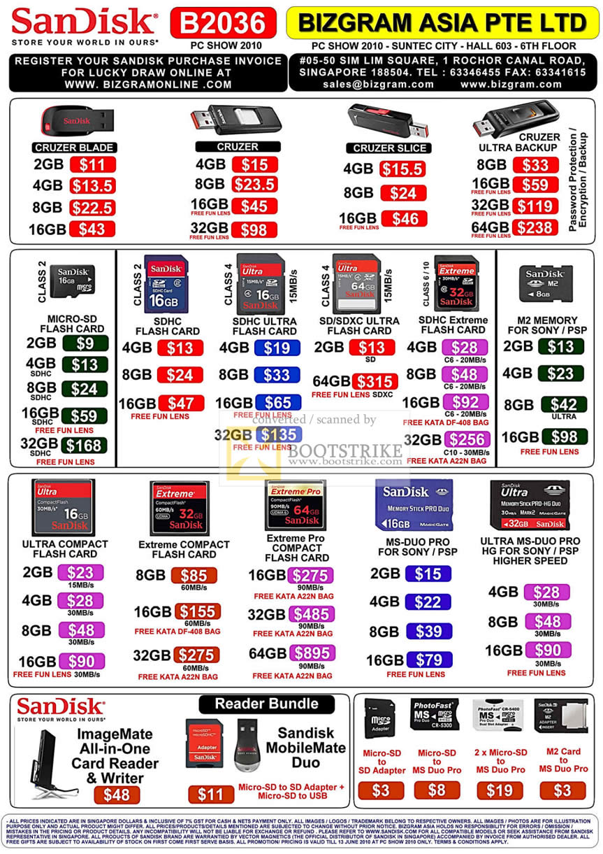 PC Show 2010 price list image brochure of Bizgram Asia Sandisk USB Flash Drive Cruzer Blade Slice Ultra Micro SD SDHC Extreme M2 CF Compact Flash Pro MS Duo