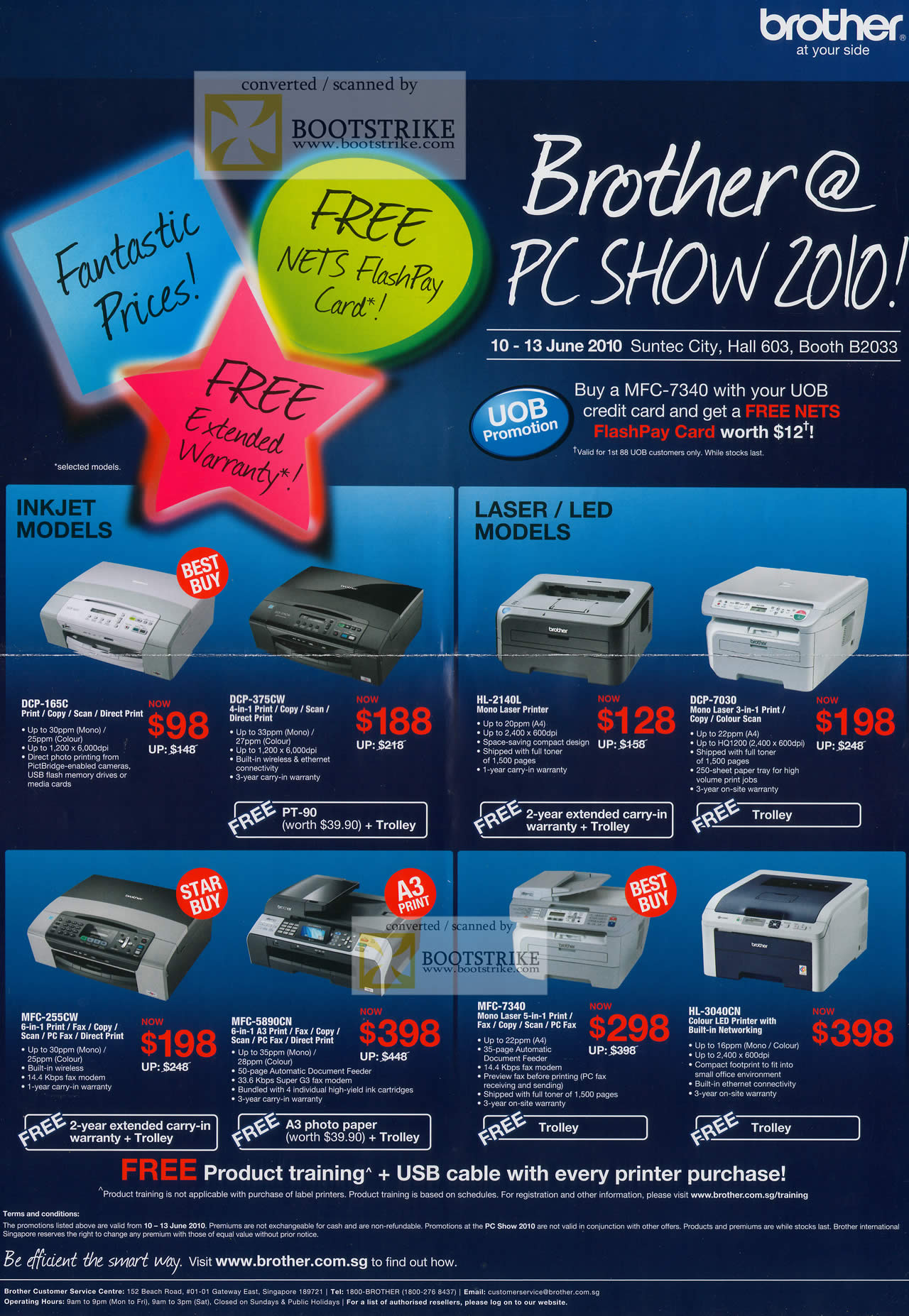 PC Show 2010 price list image brochure of Brother Printers Inkjet DCP 165C 375CW Laser HL 2140L 7030 MFC 255CW 5890CN 7340 3040N