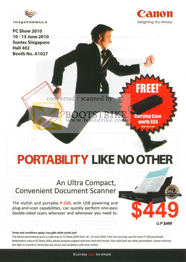 PC Show 2010 price list image brochure of Canon P 150 USB Compact Convenient Document Scanner