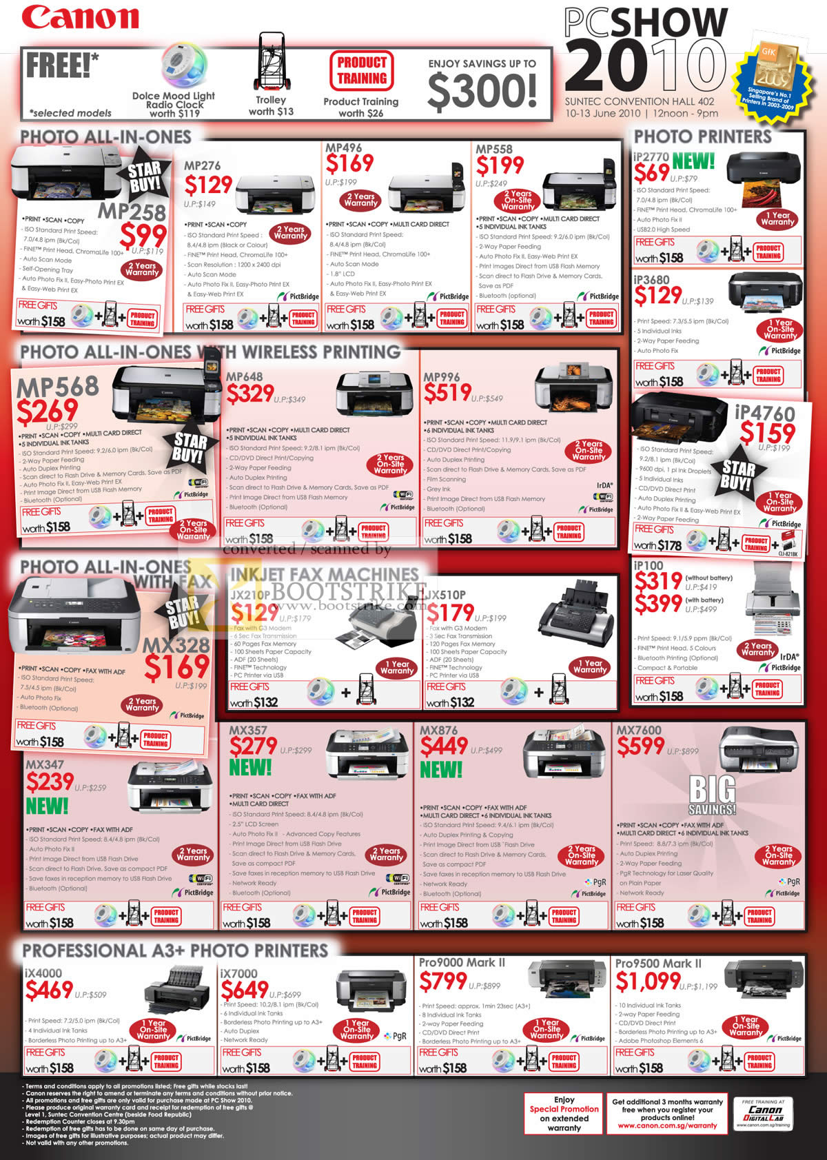 PC Show 2010 price list image brochure of Canon Printers Photo MP258 MP276 MP496 MP558 I 2770 MP5568 MX328 A3 Professional Ix4000