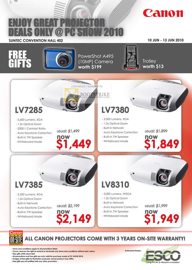 PC Show 2010 price list image brochure of Canon Projectors LV7285 LV7380 LV7385 LV8310