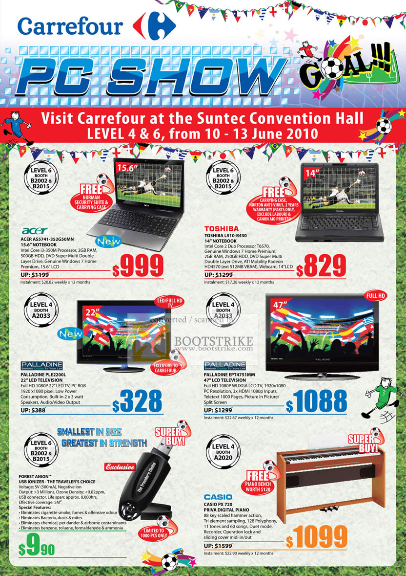 PC Show 2010 price list image brochure of Carrefour Notebooks Acer Toshiba Palladine LED TV LCD Forest Anion Casio Digital Piano