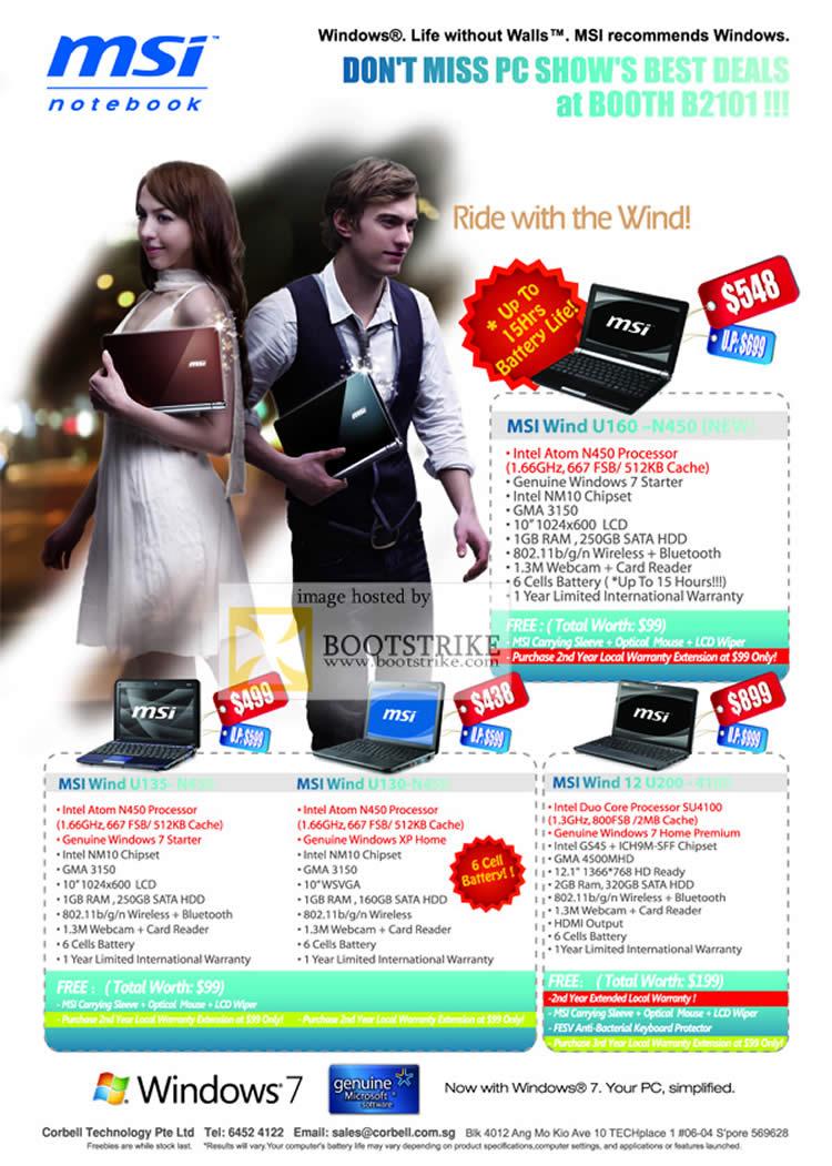 PC Show 2010 price list image brochure of Corbell MSI Notebooks Wind U160 U135 N450 U130 U200