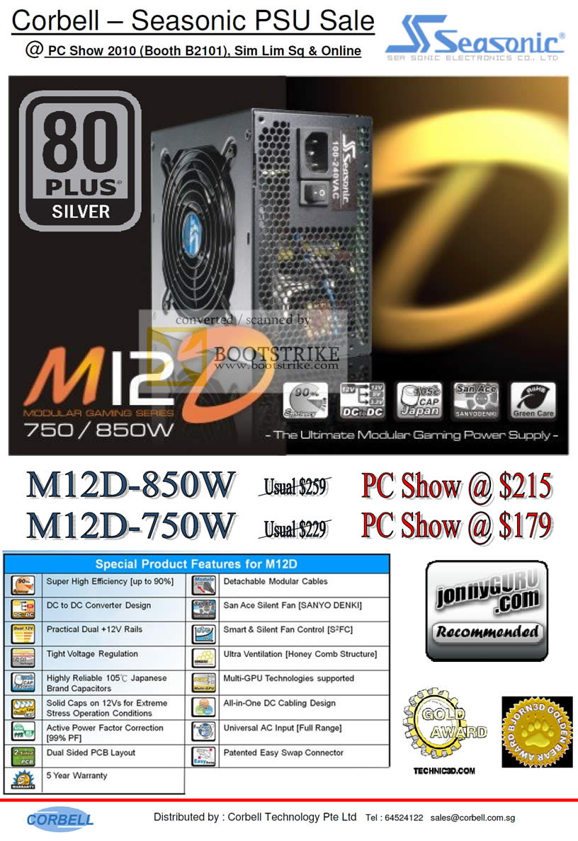 PC Show 2010 price list image brochure of Corbell Seasonic M12D 750W 850W Power Supply PSU