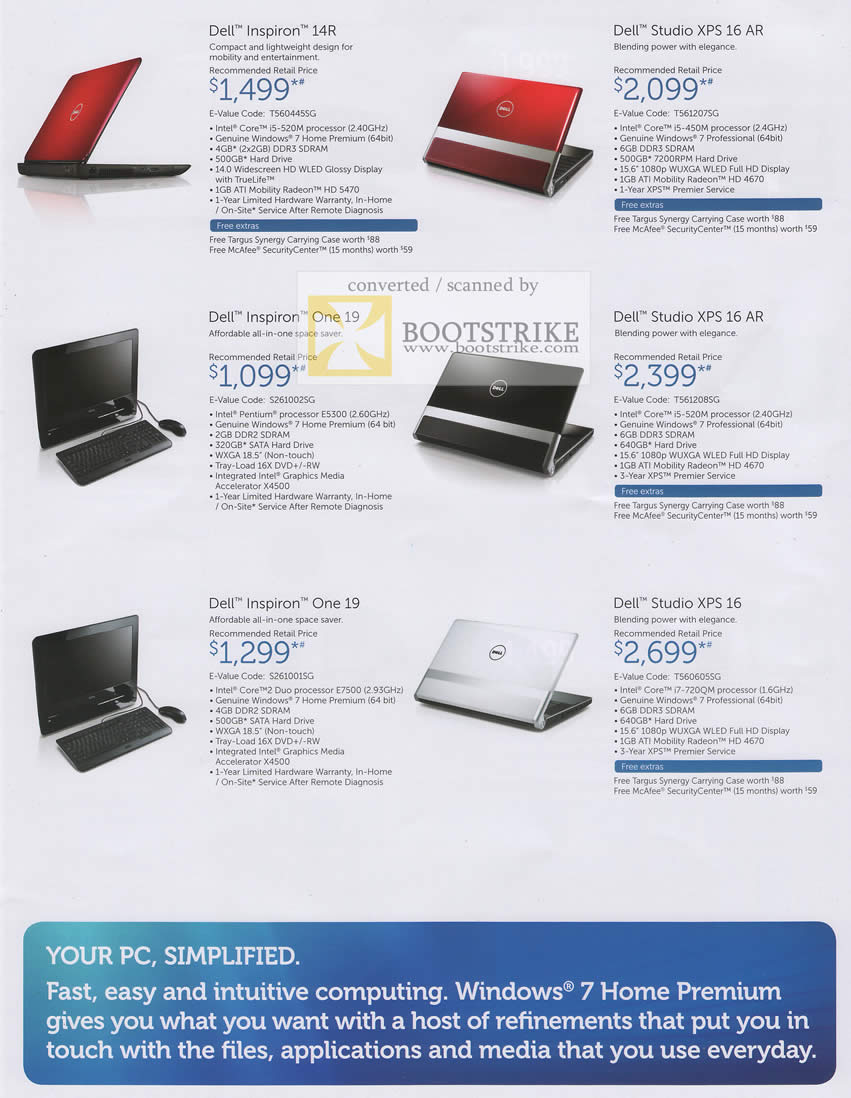 PC Show 2010 price list image brochure of Dell Inspiron Notebooks 14R XPS 16 AR One 19
