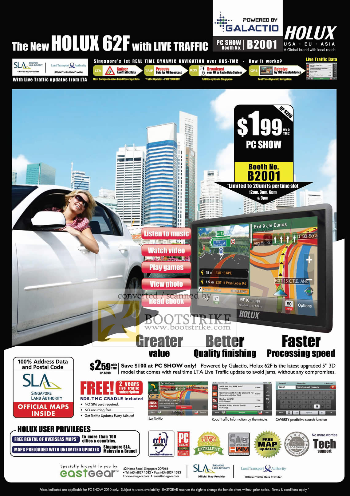 PC Show 2010 price list image brochure of Eastgear Holux 62F GPS Galactio RDS TMC SLA LTA Live Traffic
