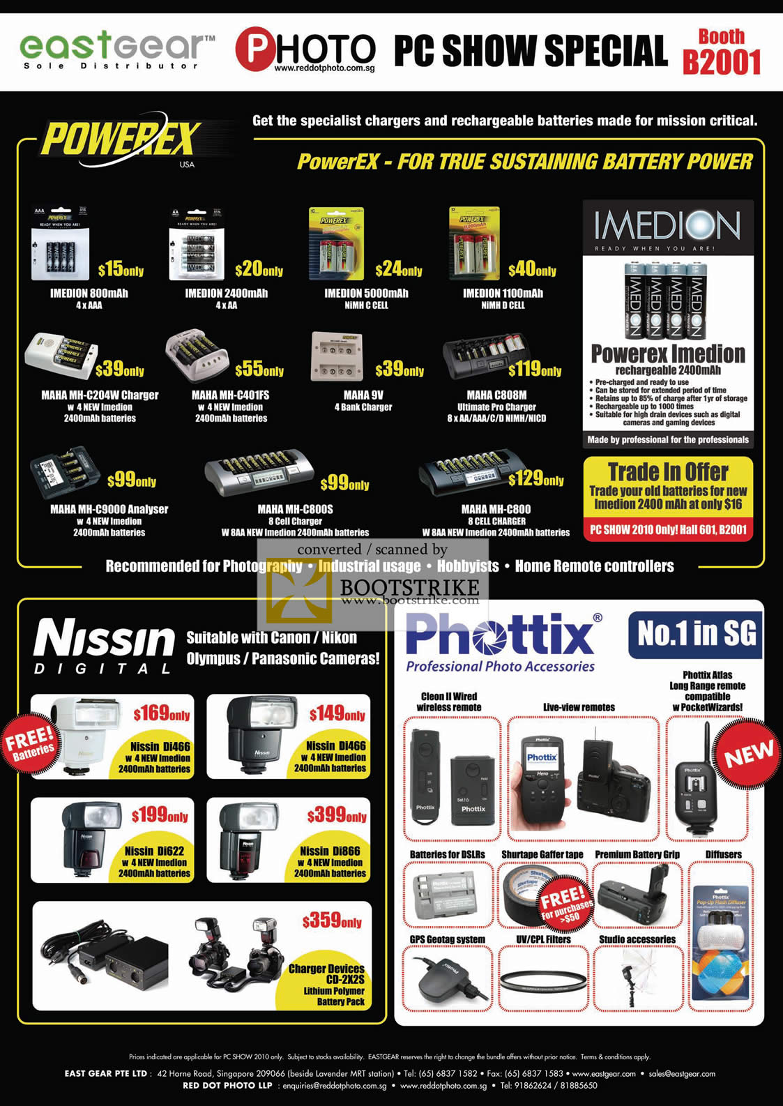 PC Show 2010 price list image brochure of Eastgear Powerex Imedion Rechargeable Batteries Maha Charger Analyser Nissin Digital Flash Phottix Wireless Remote GPS