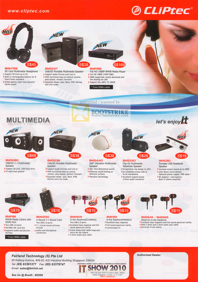 PC Show 2010 price list image brochure of Fairyland Cliptec Headset Speakers BMH788 BMS537 Vibration Portable USB Card Earphone