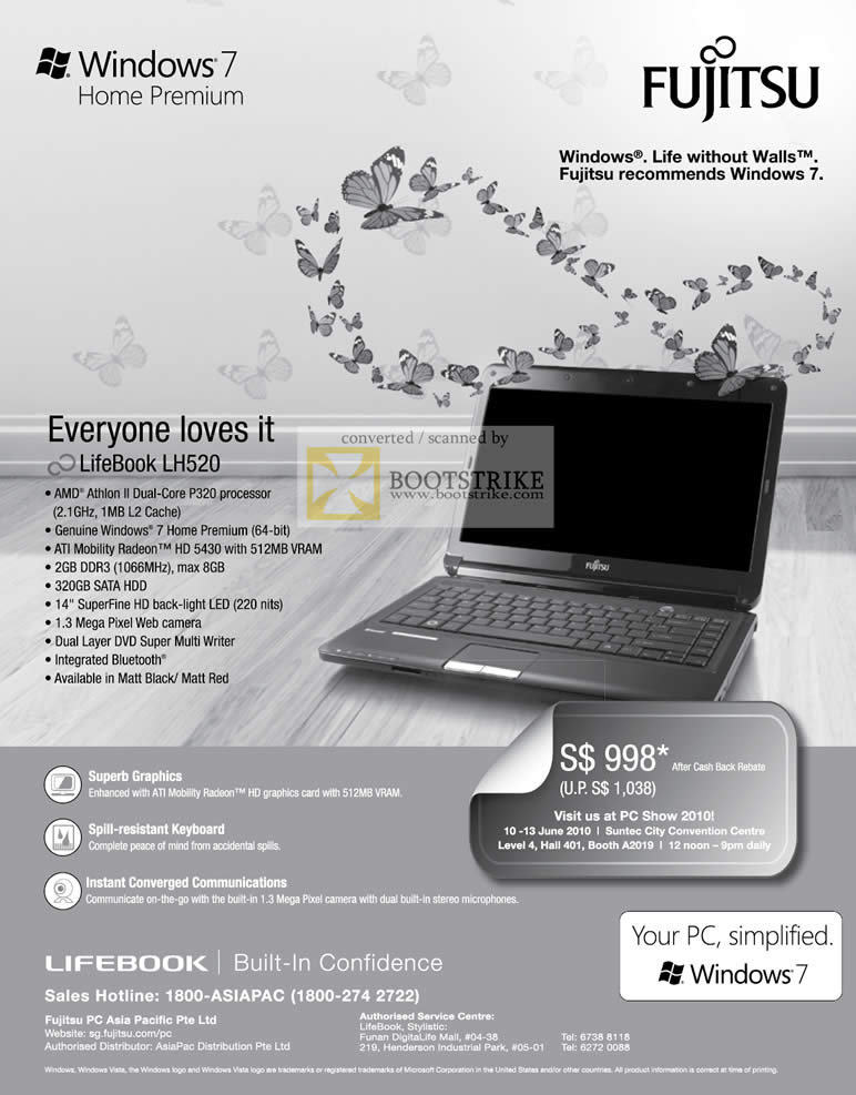 PC Show 2010 price list image brochure of Fujitsu Notebook LifeBook LH520