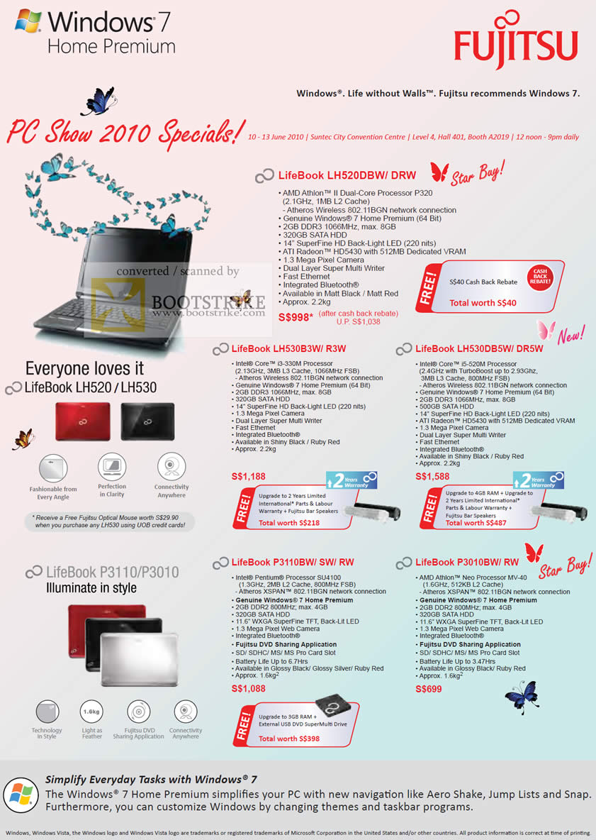 PC Show 2010 price list image brochure of Fujitsu Notebooks LifeBook LH520 LH530 P3110 P3010