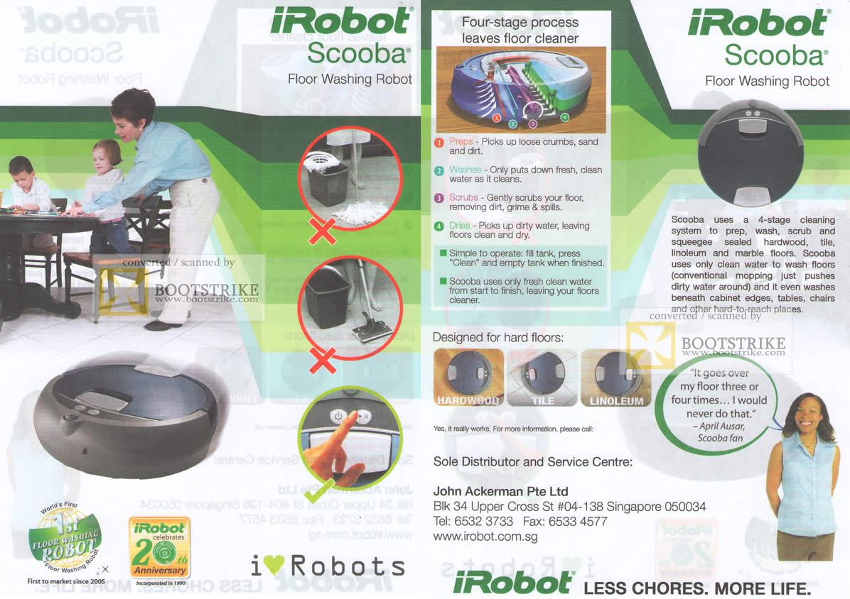 PC Show 2010 price list image brochure of John Ackerman IRobot Scooba Floor Washing Robot