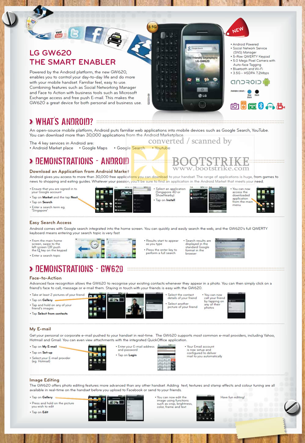 PC Show 2010 price list image brochure of LG GW620 Mobile Phone Google Android
