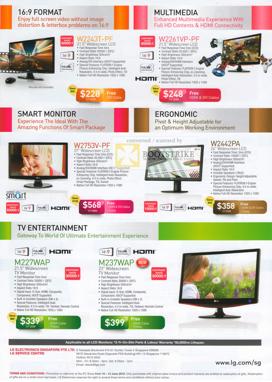 PC Show 2010 price list image brochure of LG LCD Monitors W2243T PF W2261VP W2753V W2442PA TV M227WAP M237WAP