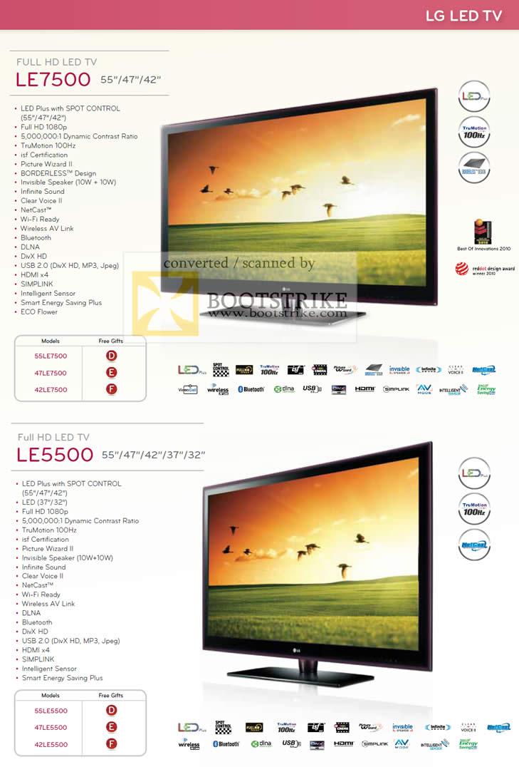 PC Show 2010 price list image brochure of LG LED TV LE7500 LE5500