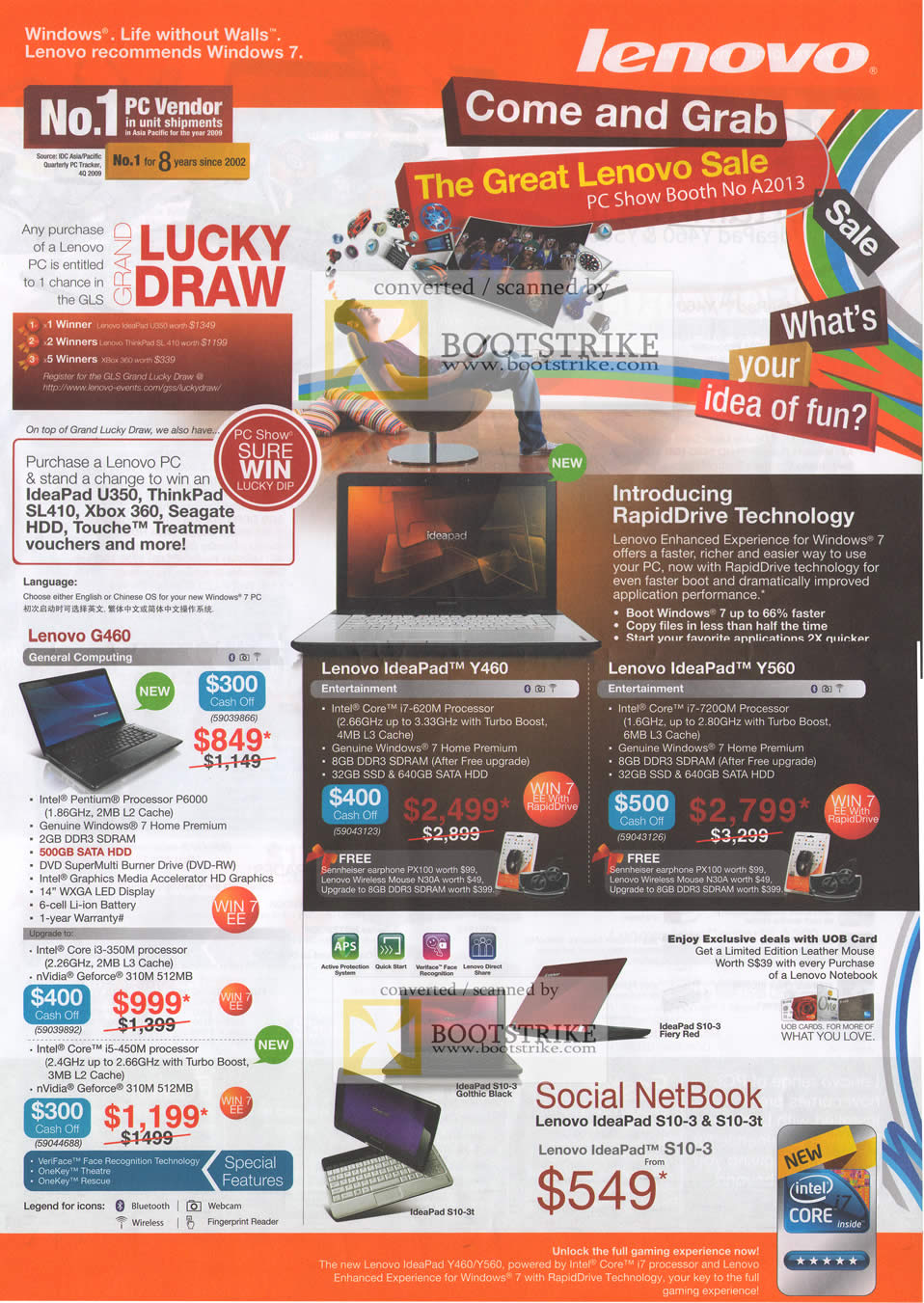 PC Show 2010 price list image brochure of Lenovo RapidDrive Notebooks IdeaPad Y460 G460 Netbook S10 3 3t