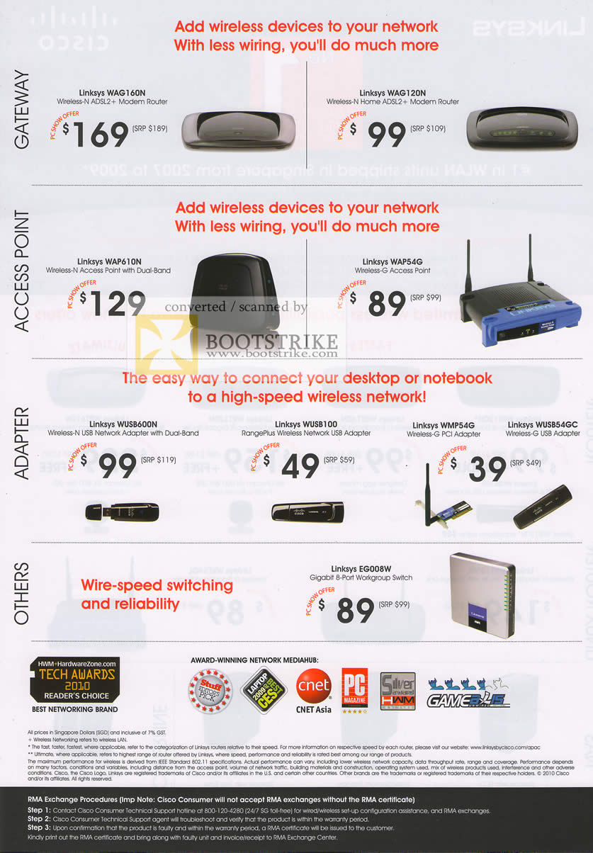 PC Show 2010 price list image brochure of Linksys Cisco Router WAG160N WAG120N WAP610N WAP54G Adapter WMP54G Adapter USB RangePlus Switch