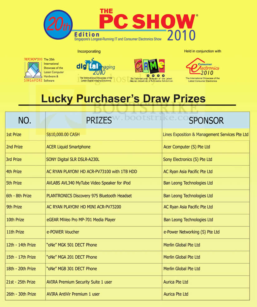 PC Show 2010 price list image brochure of Lucky Draw Prizes