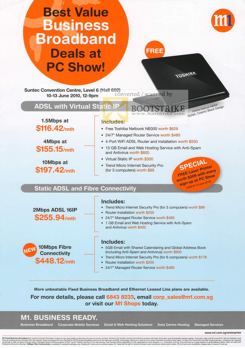 PC Show 2010 price list image brochure of M1 Business Broadband ADSL Fibre Toshiba Netbook N8300