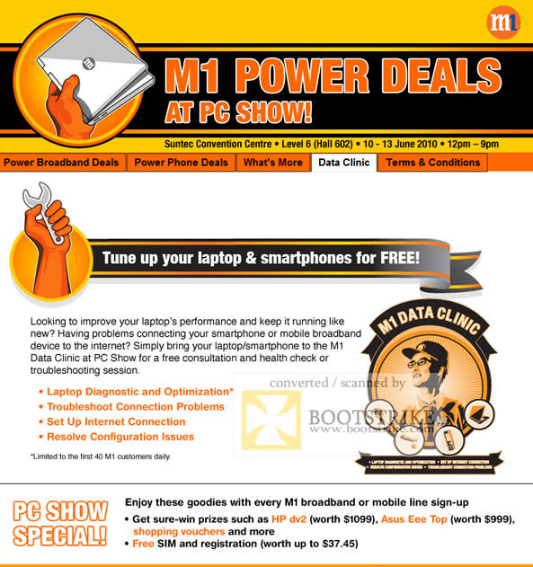 PC Show 2010 price list image brochure of M1 Data Clinic Consultation Health Check