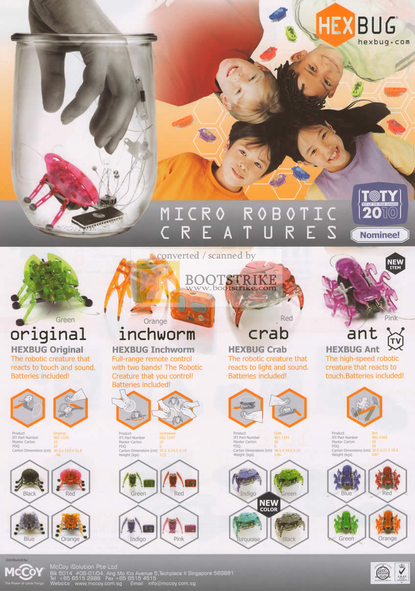 PC Show 2010 price list image brochure of Mccoy Hexbug Original Inchworm Crab Ant Micro Robotic Creatures