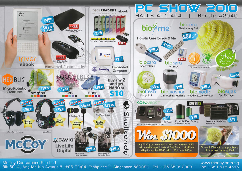 PC Show 2010 price list image brochure of Mccoy IRiver EBook HexBug CoolReaders Biome Gavio Headset Earphone Konnext Battery