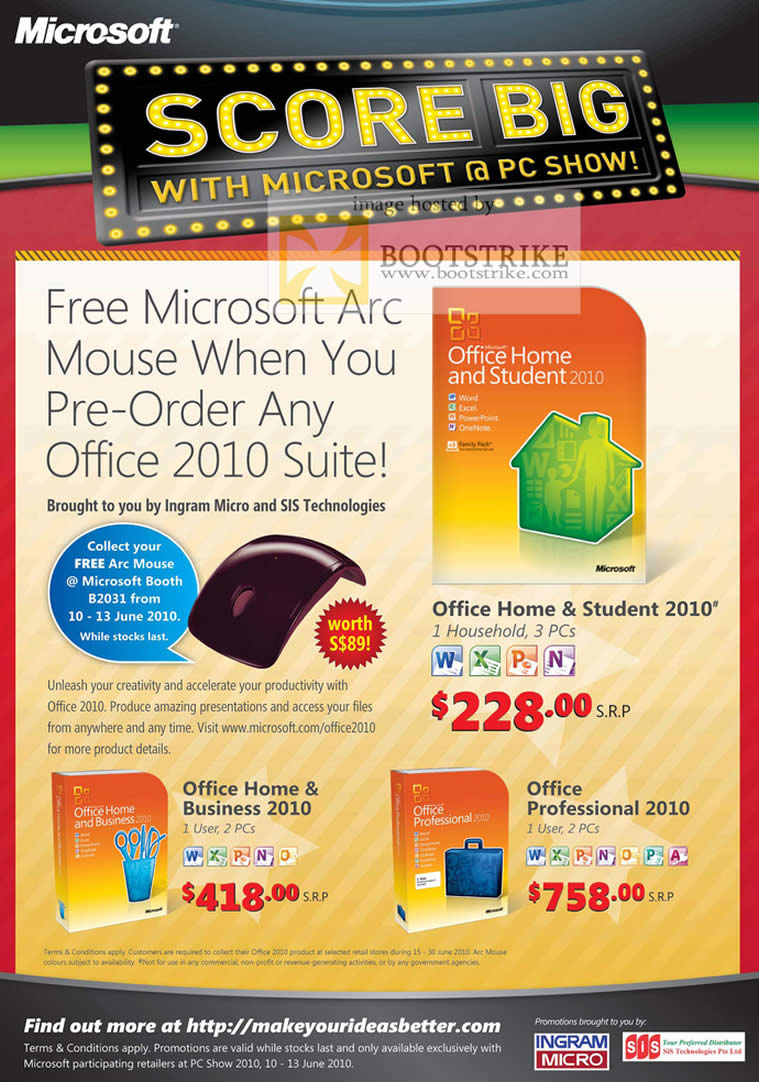 PC Show 2010 price list image brochure of Microsoft Office 2010 Home Student Business Professional Free Arc Mouse